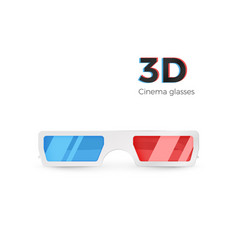 realistic 3d white glasses front view paper vector image