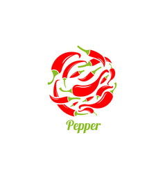 red and green pepper emblem vector image