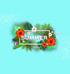 red hibiscus flower tropical summer daysummer vector image