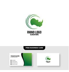 Rhino logo template free business card mockup vector