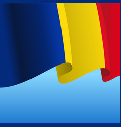 Romanian flag wavy abstract background vector