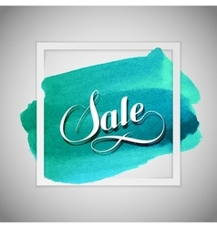 Sale label on the azure watercolor stain vector image