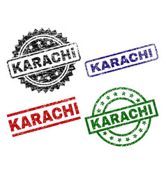 Scratched textured karachi seal stamps vector