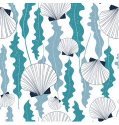 sea seamless pattern with seashells and seaweeds vector image
