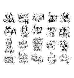 Set 20 autumn quotes hand lettering vector