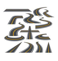 set of bending roads vector image