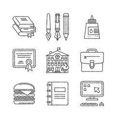 Set of education icons in sketch style vector
