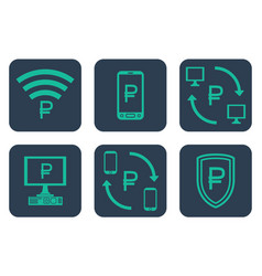 set of icons about online payments with rouble vector image