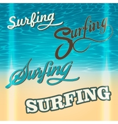 set summer surf typography elements vector image