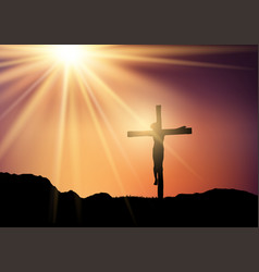 silhouette jesus on cross against a sunset vector image