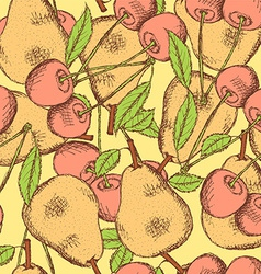 Sketch cherry and pear in vintage style vector image
