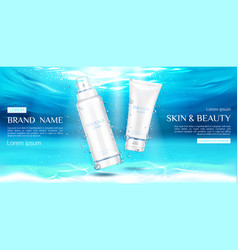 skin care beauty product sprayer and cream tubes vector image
