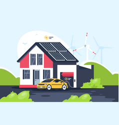 Smart eco house with electric car vector