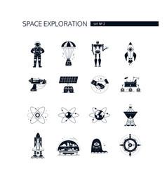 space exploration - modern set black vector image