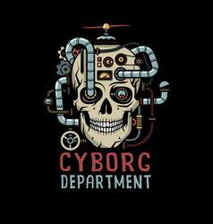 Steampunk cyborg skull vector