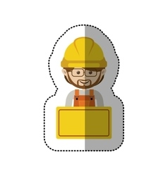 Sticker half body avatar worker with toolkit and vector