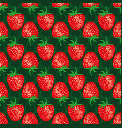 strawberries on a green background vector image