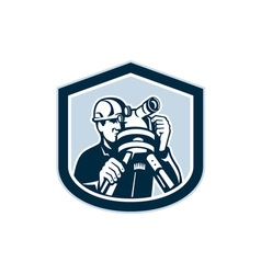 Surveyor Surveying Theodolite Shield Retro vector image