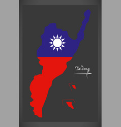 Taidong taiwan map with taiwanese national flag vector