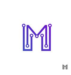 Tech m logo design initial m technology logo vector