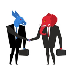 Transaction elephant and donkey Democrats and vector