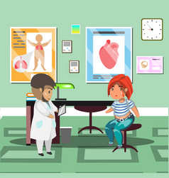 Treatment with patient in doctor office vector