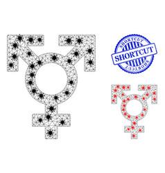 Triangulated mesh polyandry sex symbol pictograms vector