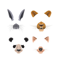 Video chat effects with animal faces vector