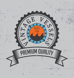 Vintage vessels label poster vector