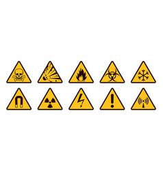 warning signs realistic caution icons yellow and vector image