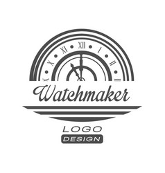 Watchmaker logo design monochrome vintage clock vector