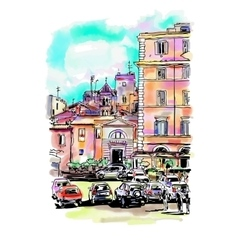 Watercolor travel card from Rome Italy old vector