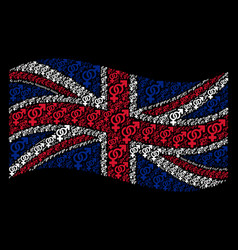 Waving great britain flag pattern of heterosexual vector