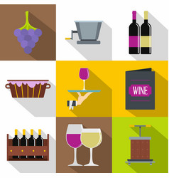 Wine things icons set flat style vector