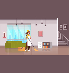Woman in gloves and apron washing floor african vector