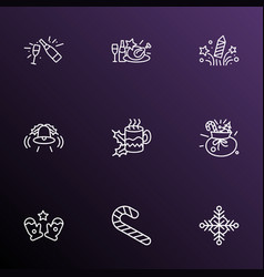 Year icons line style set with christmas diner vector