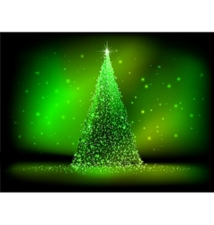 Abstract golden christmas tree on green EPS 10 vector image vector image