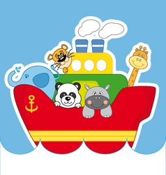 Child ship animals vector image vector image