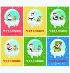 merry christmas santa helper vector image