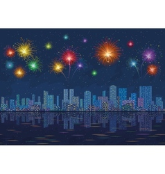 Night city landscape with fireworks seamless vector image vector image