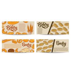 set of bakery flyer templates fresh baked goods vector image