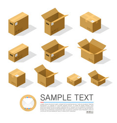 set of boxes to send isometric vector image