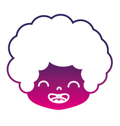Silhouette boy head with curly hair and smile face vector