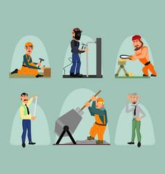 six workers set vector image