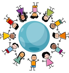 children and globe cartoon vector image