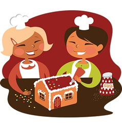 Children making gingerbread house vector image