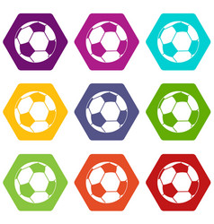 football ball icon set color hexahedron vector image