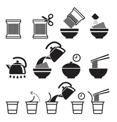 instant noodles icons set vector image vector image