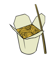 Chinese noodle in box icon cartoon vector