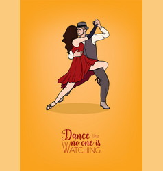 colorful poster template with couple of dancers vector image